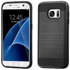 For Samsung Galaxy S7 Brushed Hybrid Impact Armor Protector Case Cover black ASAMS7HPCSAAS351NP