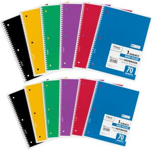 mead spiral 1 subject wide ruled notebook pack of 12
