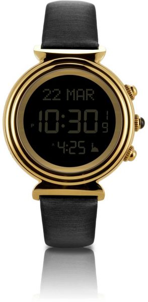 Al Fajr Dress Watch For Women Digital Black Leather Wf 14