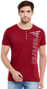 f28ef7bf6d7 THE VANCA Maroon Round Neck Henley Top For Men