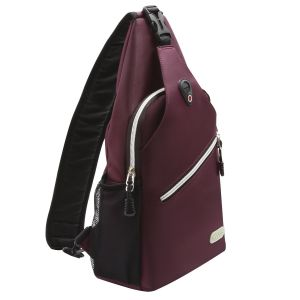 ... Durable Chest Shoulder Unbalance Gym Fanny Lightweight Crossbody Sack Satchel Outdoor Hiking Bag for Men Women Girls Boys Travel Daypack, Wine Red