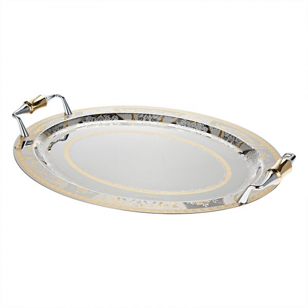 HAMTC 18, 10 Stainless Steel Oval Serving Tray Silver & Gold EL200, 3 BLANCA STS2051047