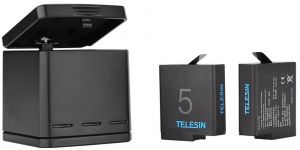 TELESIN 3 Channel Battery Charger Box with 2 Rechargeable Lithium Ion Batteries for GoPro Hero 5/6 - GP-B&C-502
