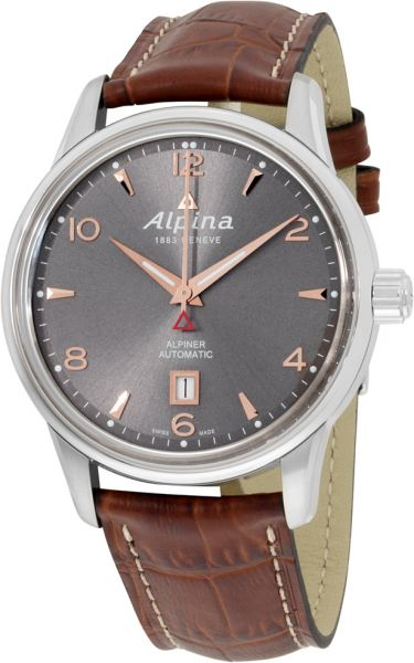 Alpina Mens Grey Dial Leather Band Watch ALVGE Price Review - Alpina watches price