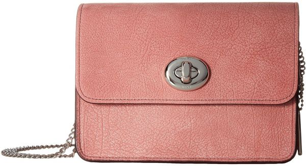 Coach Glitter Rose Bowery Flap Bag for Women, Leather - Peach Pink