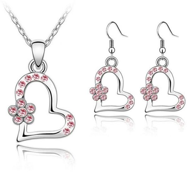 Hearts and buterflies pendant necklaces earrings girls kids fashion Jewelry Set gift