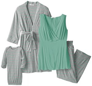 Everly Grey Women s Maternity Roxanne Nursing Pajama Pant Set With Baby  Gown c3e377849