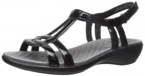 Clarks Womens Sonar Aster Sandal Black Synthetic Patent 7.5 Medium US