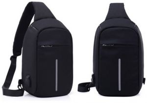 48c5b642cff6 Multi-function digital USB charging chest bag anti-theft handbag shoulder  sports Backpack-black zZ