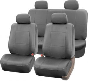 Incredible Fh Group Universal Fit Seat Cover Faux Leather Gray Full Set With 4 Headrest Covers Solid Pdpeps Interior Chair Design Pdpepsorg