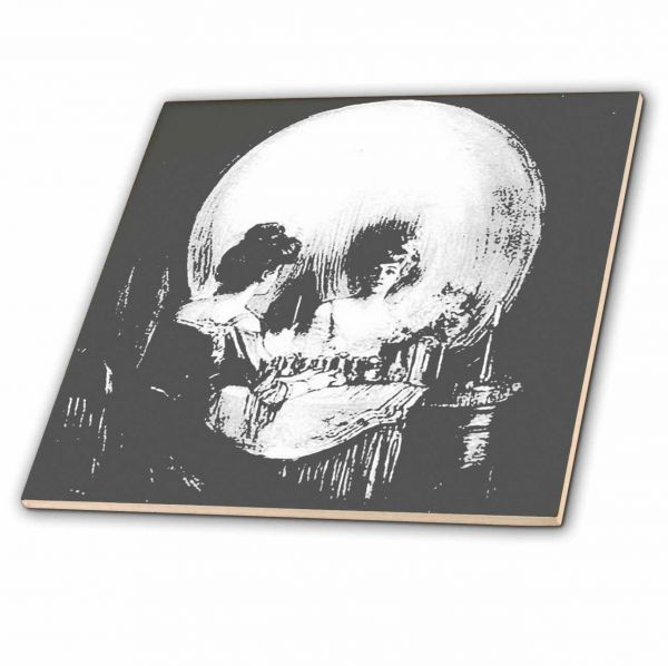 3d rose ct_46711_4 3drose all is vanity ghost halloween optical illusion paranormal seasonal silhouette skeleton ceramic tile inch 4 12