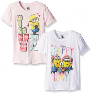 dc52494ff5c Despicable Me Little Girls' Value Pack T-Shirt Shirts, Purple/Pink, 4/5