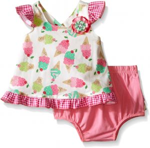 8104c7bf78 Nannette Little Girls Knit Ice Cream Top and Diaper Cover Set