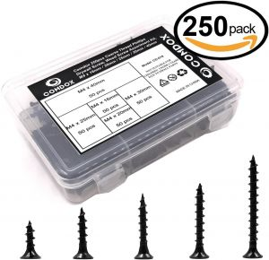 Wood Ideal Screw for Drywall Sheetrock and More Comdox 5 Size 250 Pack Coarse Thread Phillips Drywall Screws with Bugle Head