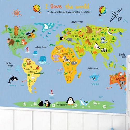Cartoon world map diy wall stickers art decor mural room decal cartoon world map diy wall stickers art decor mural room decal decals sticker price review and buy in dubai abu dhabi and rest of united arab emirates gumiabroncs Image collections
