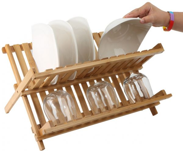 Mind Reader Wooden Dish Rack Plate Rack Collapsible Dish Drying Rack Bamboo Dish Drainer  sc 1 st  Souq.com & Mind Reader Wooden Dish Rack Plate Rack Collapsible Dish Drying ...
