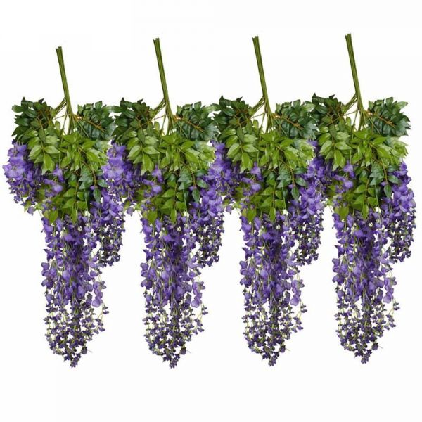 Supla 12 Piece Artificial White Silk Faux Wisteria Vine Ratta Hanging String Flower Fake Arrangements Bridal Home Diy Floor Garden Office