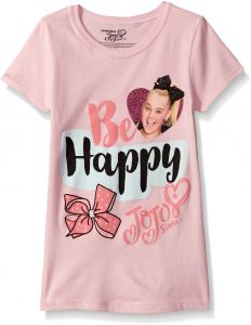 Nickelodeon Little Girls JoJo Siwa Short Sleeve T Shirt Light Pink M 5 6