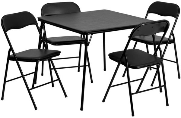Superb Flash Furniture 5 Piece Black Folding Card Table And Chair Set
