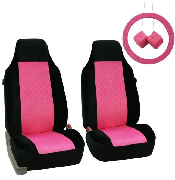 Fh Group Fb150pinkblack102 Pinkblack Heart Patterned Velour Seat