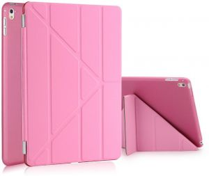 Foldable Magnetic Slim Flip PU Leather Smart Cover Case Stand For Apple iPad Pro 9.7 Inch 2016 Hot Pink
