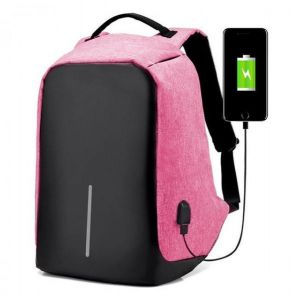 c9a068dba0a7 Laptop Notebook Unisex Fashion Backpack Anti-theft Travel School Bag w  USB  Charger Port Pink