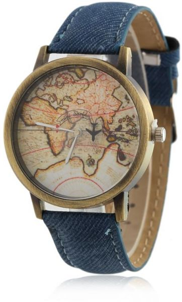 blue cowboy men quartz xl i en item watch fabric denim map for souq shshd strap om watches women