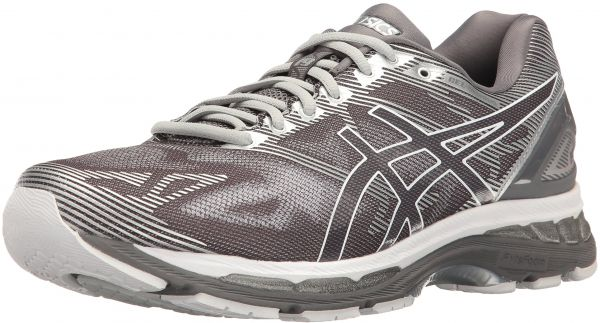 ASICS Men's Gel-Nimbus 19 Running Shoe, Carbon/White/Silver, 8 M US