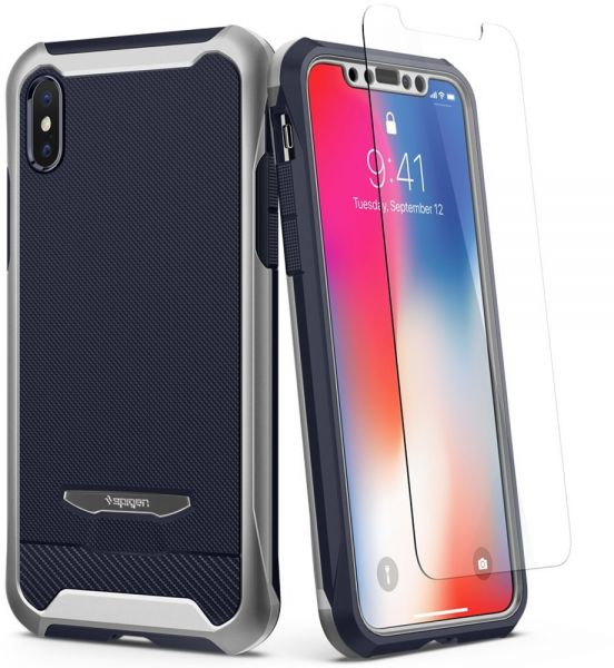 sale retailer 285e6 52c61 Spigen iPhone X Reventon case / cover - Platinum Silver - Full 360  protection with 2 pc Glass Protector