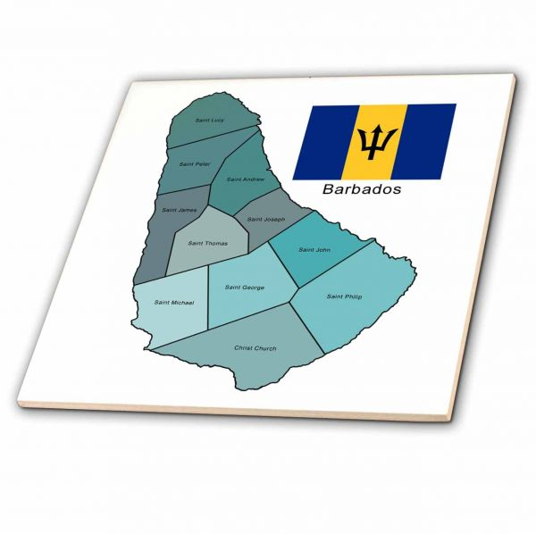 Souq 3dRose Flag and map of Barbados with map colored and all