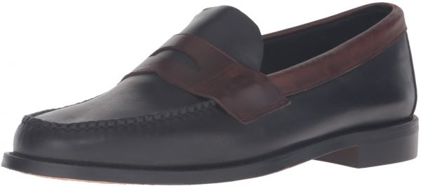 Sebago Men's Heritage Penny Loafer, Black/Brown Oiled Waxy Leather, 7 M US