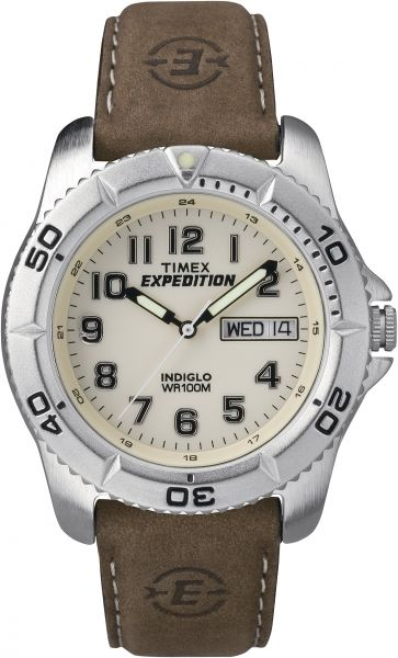 a1cf23d40ccf Timex Men s T46681 Expedition Traditional Brown Leather Strap Watch ...
