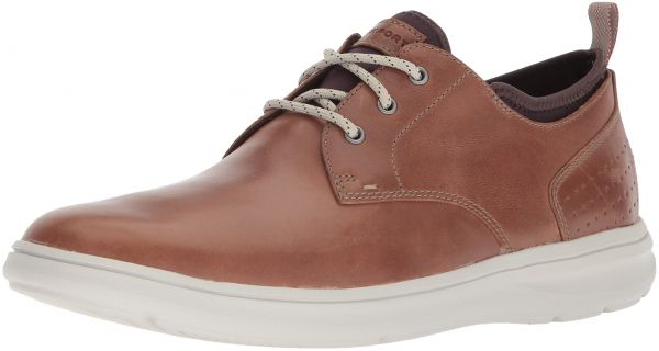 Rockport Men's Zaden Plain Toe Ox Shoe, Boston Tan Leather, 8.5 M US