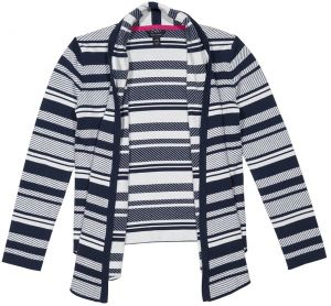 Tommy Hilfiger Big Girls' Jacquard Stripe Sweater, Medium Navy, Small