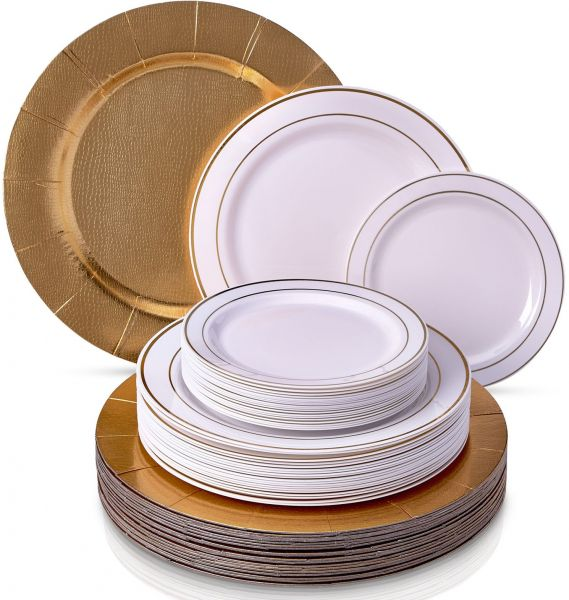 ... Parties and Events - Heavyweight Paper Charger Plastic Dinner and Side Plates (Set of 60) 20 Chargers 20 Dinner and 20 Salad Plates 1821  sc 1 st  Souq.com & Golden - Silver Glare Collection Elegant China Disposable Round ...