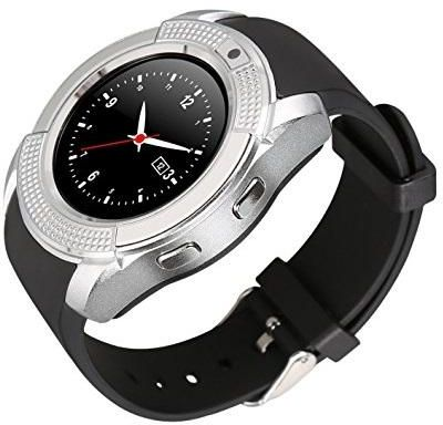 V8 Bluetooth Fitness Tracker Smartwatch Sim TF Card Support For Android iOs  Black Silver