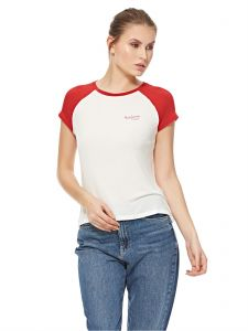 134ac292d Pepe Jeans PL502715 T-Shirt for Women - Off White   Royal Red