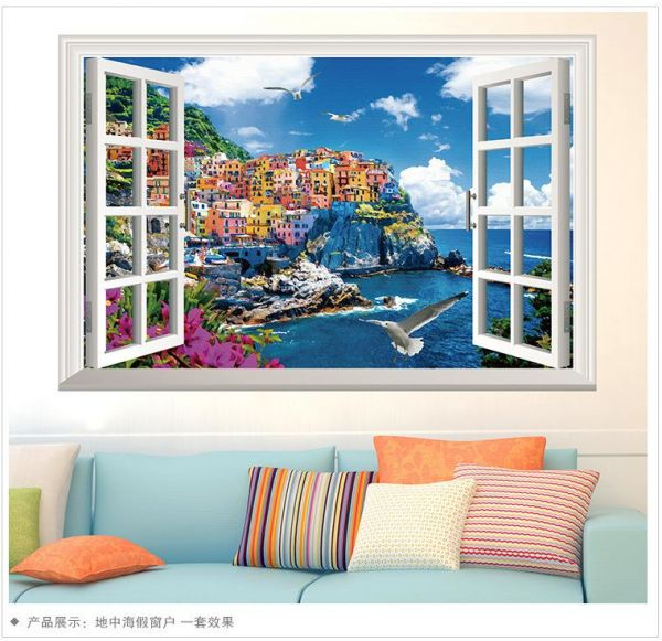 3d window mediterranean scenery wall sticker self-adhesive pvc home