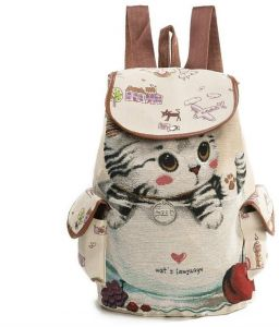 Casual Canvas School Backpack Women Lovely Cat Printed Drawstring Backpack  Teenager Large Capacity Ladies School Bag 5d5539c088596