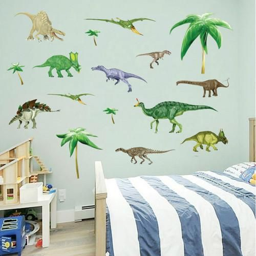 green dinosaurs wall stickers boys room decor decals bedroom