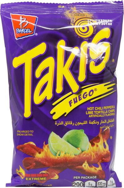 Barcel Takis Fuego Hot Chili Pepper Lime Tortilla Chips 56 Gm