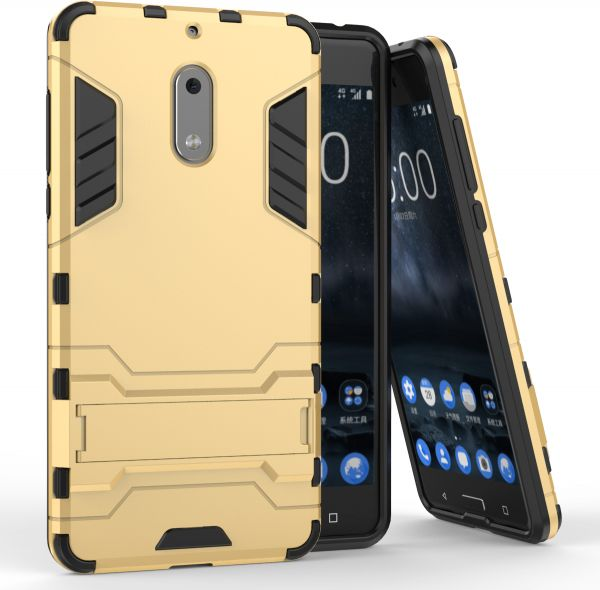 finest selection 3ba65 13061 Nokia 6 Shockproof Hard Hybrid Armor Stand Case Cover Gold
