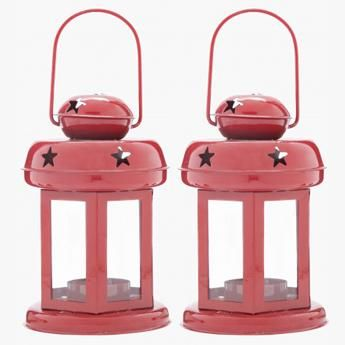 Red Lantern Candle Holder Set Of 2