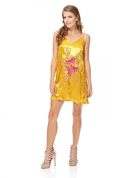 3c5805d0334a GLAMOROUS Women's Acid Yellow Satin Embroidered Slip Dress. by glamorous,  Dresses - Be the first to rate this product. 60 % off