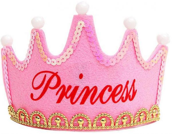 Princess Crown Birthday Party LED Light Up Hat Cap Tiara For Kids Adults
