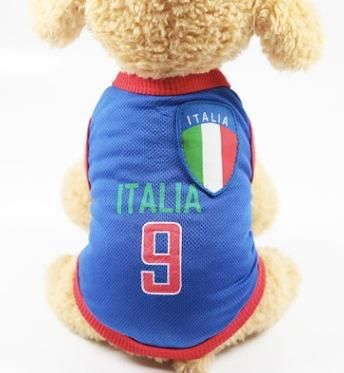 1892c535a42 Dog Clothes Football T-shirt Dogs Costume National Soccer World Cup FIFA  Jersey for Pet Italia