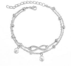 59cde723db2 Summer Style Charming infinite Pearl Pendant Two Chains Anklet Ankle  Bracelet Foot Jewelry Barefoot Sandals Anklets For women
