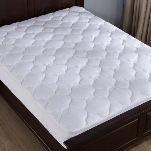 mattress top view. Puredown Down Alternative Mattress Pad Topper-Fitted-Cloud-Quilted, Over-Soft Microplush Fabric Top, White Queen PD-MP-17013-Q Top View