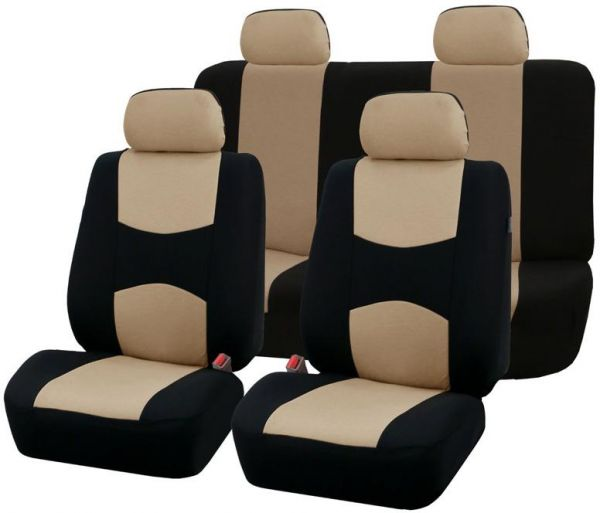 Full Set Car Seat Covers Universal Fit Protectors Auto Interior Accessories Beige