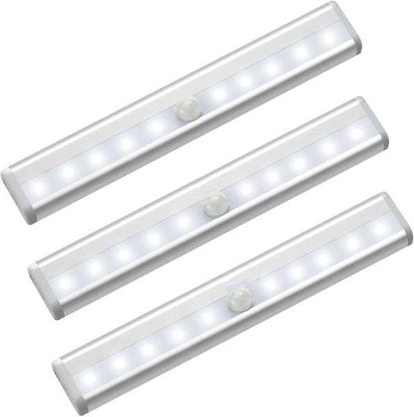 Battery Operated 3 Packs Motion Sensor Light, 10 LEDs Bulbs Wireless Closet Night Lights, Portable Magnetic Security Lighting for Bathroom Hallway Stairway